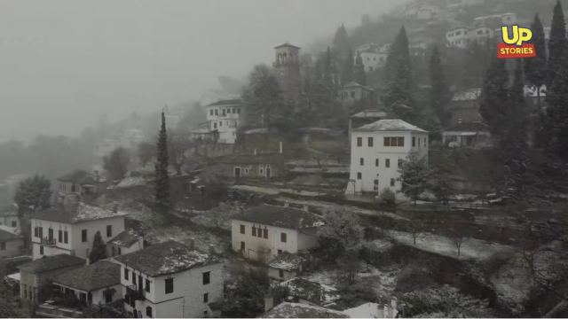 Beautiful scenes from the snowstorm in Pelion