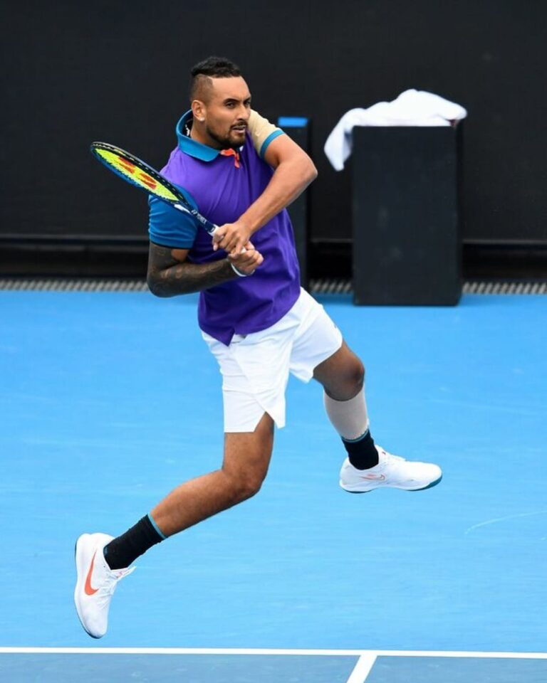Nick Kyrgios hits hard to reach the second round of the Murray River Open