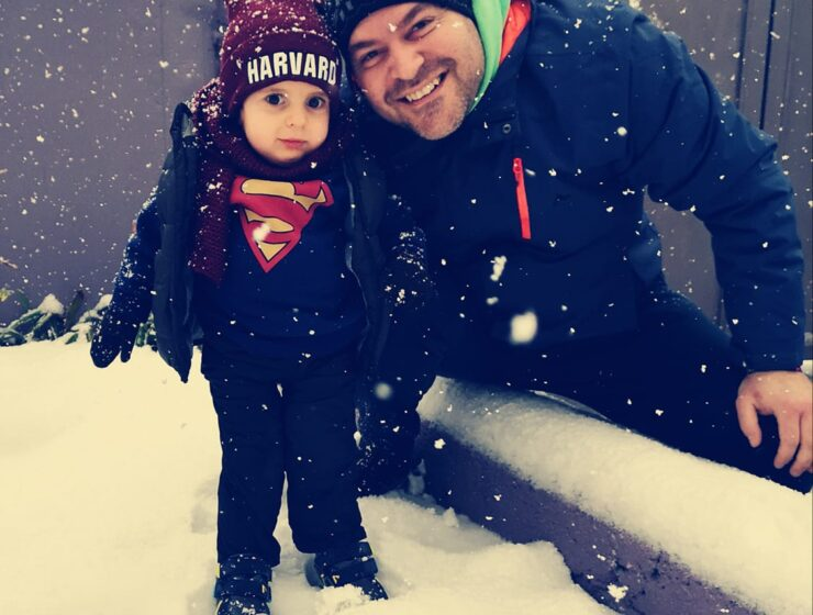 Little Panagiotis-Rafail sees snow for the first time