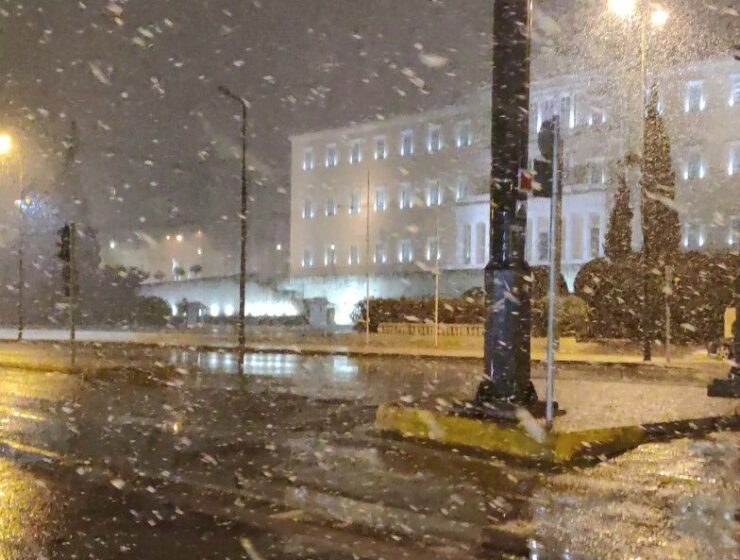Athens turns into a snow-globe scene