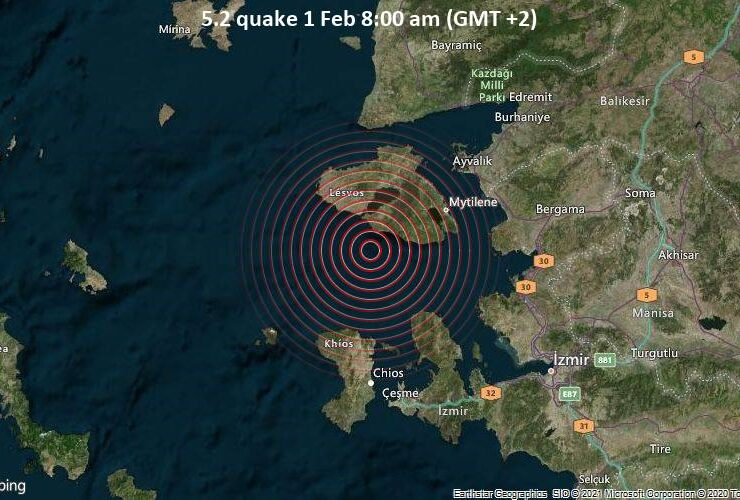 Significant magnitude 4.7quake hits 41 km southwest of Mytilene, Greece in the morning 5