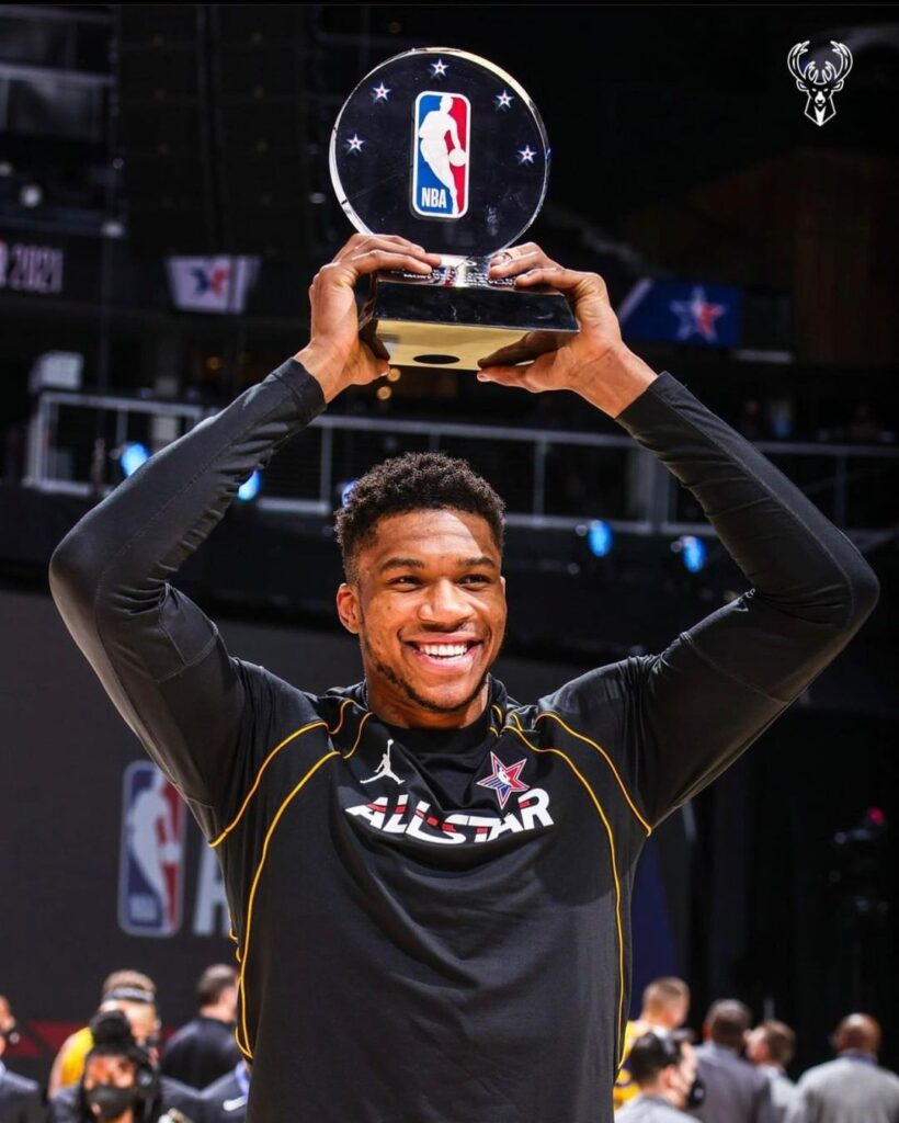 Giannis Antetokounmpo wins his first NBA All-Star Game Most Valuable Player Award
