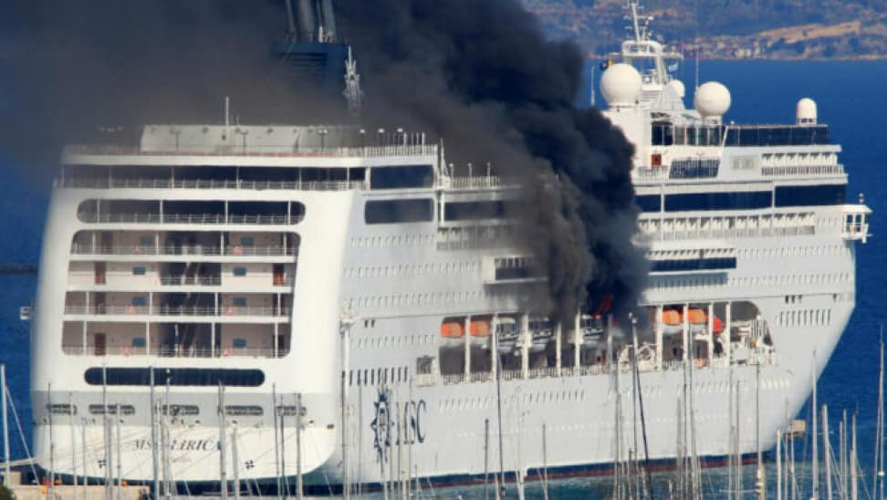 Video: Fire Aboard MSC cruise Ship Laid-Up in Greece