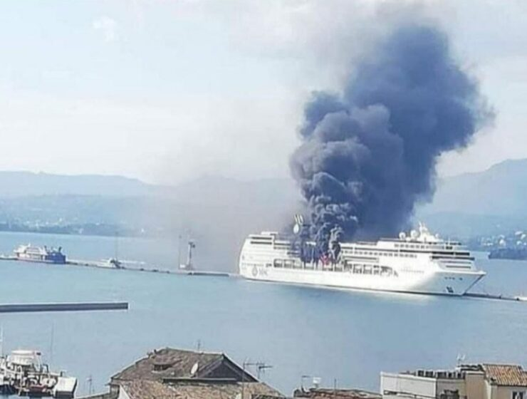 Cruise ship catches fire off Greek coast of Corfu (Kerkyra) 1