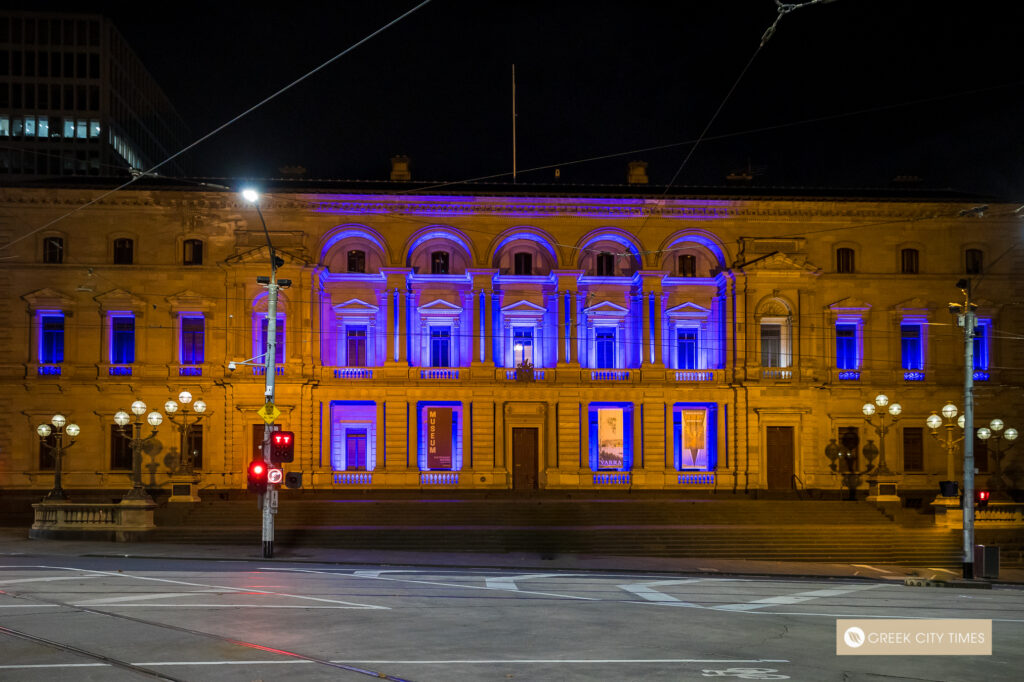 Melbourne lights up in blue and white