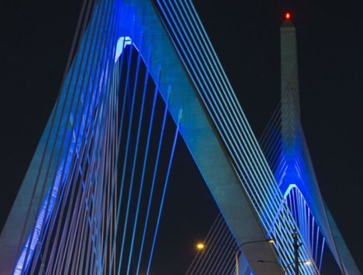 Bridges and buildings in Massachusetts will light up with the colours of the Greek flag