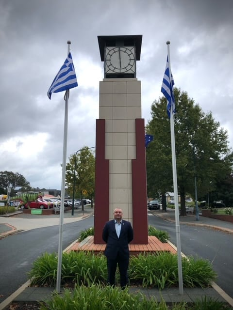 Greek flags spotted flying around Canberra