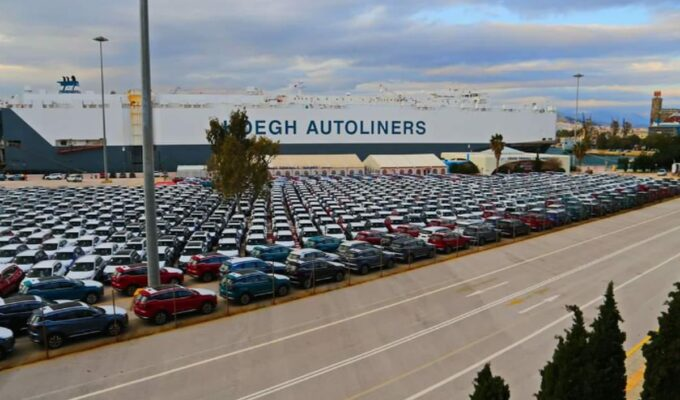 Thousands of new cars parked in the port of Piraeus