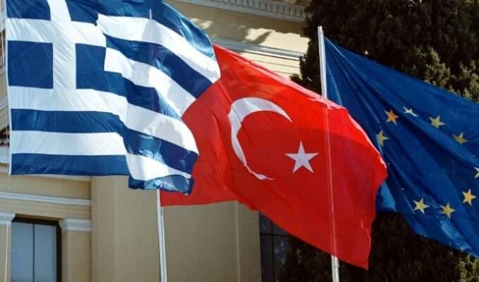 Greek Turkish EU flags