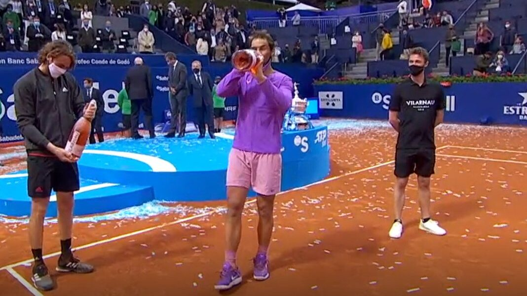 Rafael Nadal beats Stefanos Tsitsipas on Sunday to claim a 12th Barcelona Open title in the ATP's longest match of 2021 1