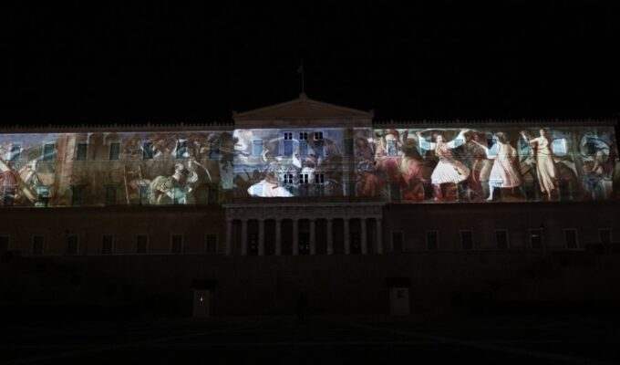 Hellenic Parliament illuminated to mark 1821 Greek Revolution