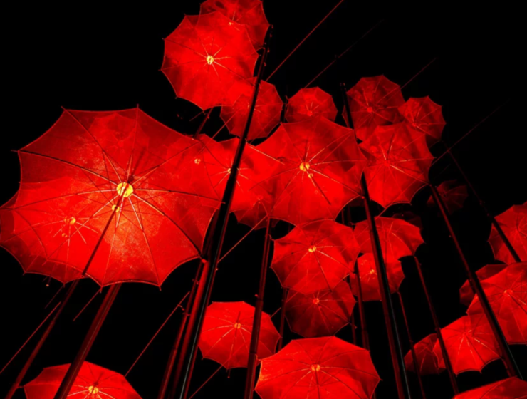 "The famous ""Umbrellas"" of Thessaloniki illuminated in red"