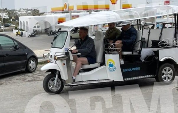 Green energy tuk tuk transport of choice for Chef Ramsay in Mykonos 18