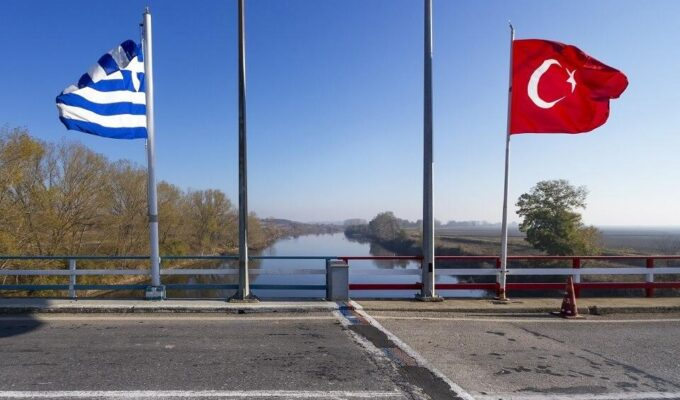 Greek Turkish flags Evros
