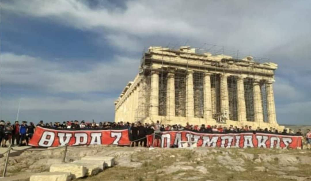 Olympiakos fans storm Acropolis to celebrate 46th championship 19