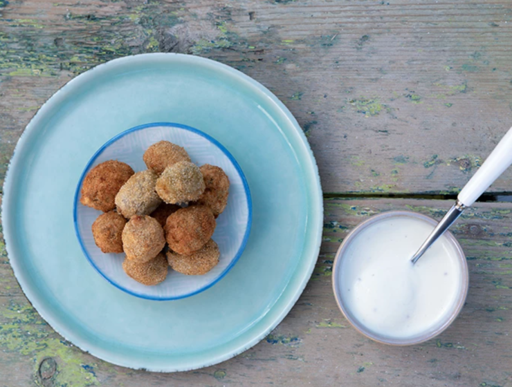 Deep Fried Stuffed Olives with Ouzo Dip Recipe