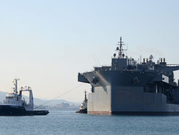 The Expeditionary Sea Base USS Hershel ''Woody'' Williams arrives at Souda Bay, Greece