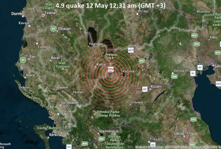 Moderate earthquake of magnitude 4.9 just reported 43 km southwest of Florina, Greece 6