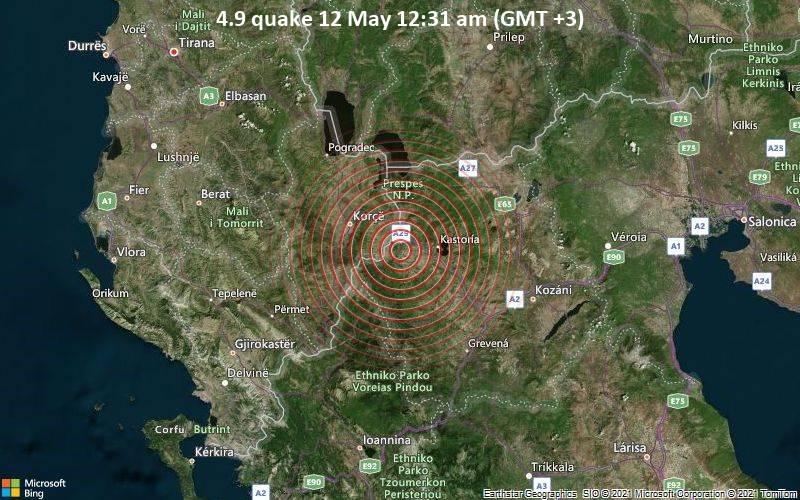 Moderate earthquake of magnitude 4.9 just reported 43 km southwest of Florina, Greece 1