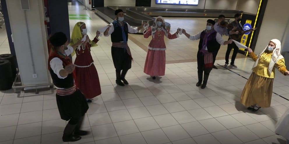 Dancers welcome tourists at Rhodes International Airport