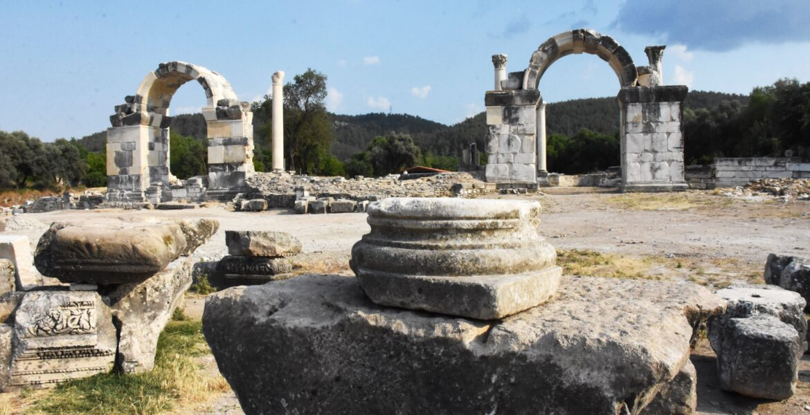 Northern gate of Ancient Greek city Stratonikeia restored by Turkish authorities 1