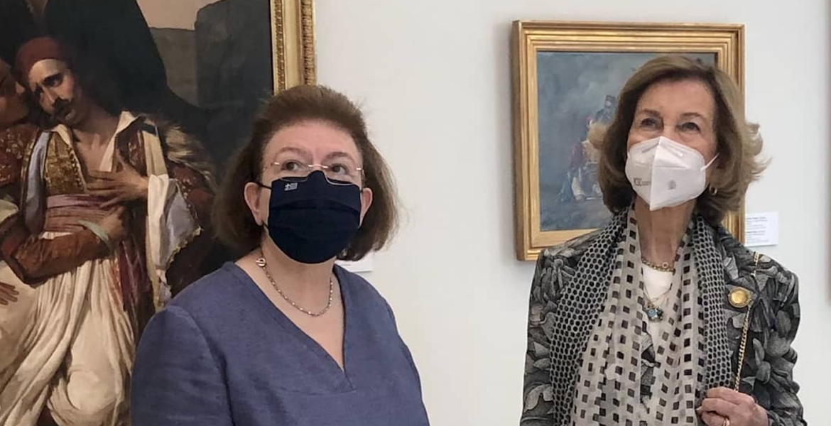 Queen Sofía of Spain visits the National Gallery in Athens