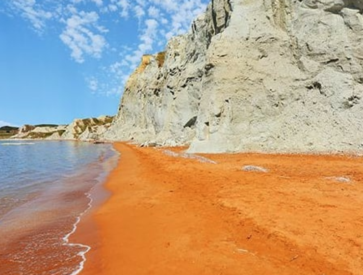 The magical beach with orange sand in Kefalonia