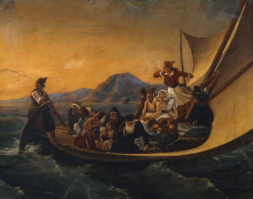 """""""The Flight from Psara"""" by Tsokos Dionysios (after 1847)"""