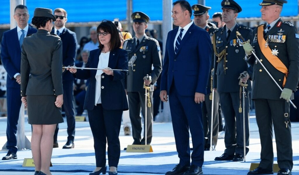 Greek President presents graduation swords to new young officers 1