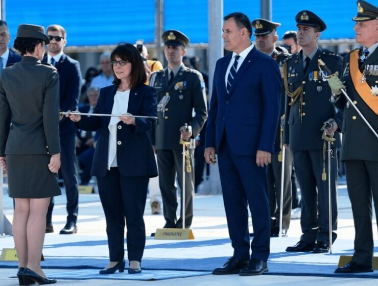 Greek President presents graduation swords to new young officers 14