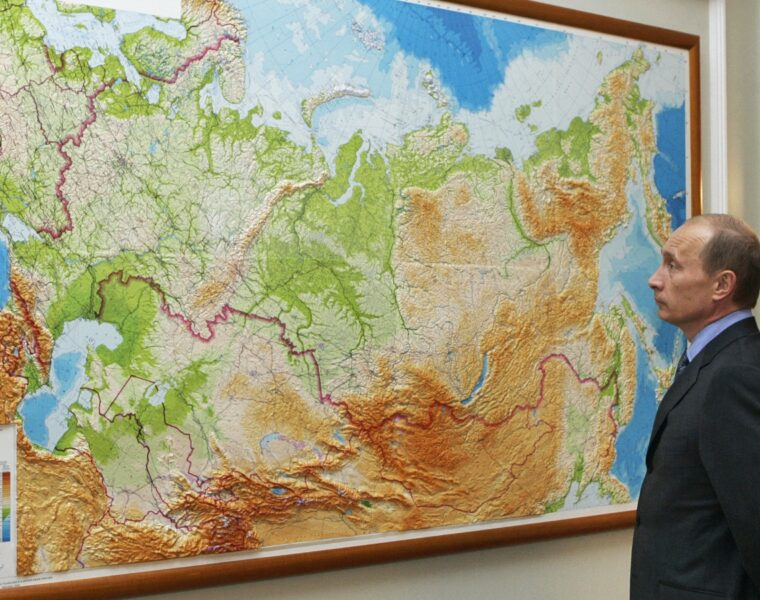 Putin Russian map central asia china looking